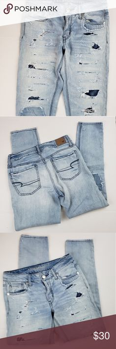 aaa68c70d41 American Eagle Tom Girl Light Wash Distressed jean Brand : American Eagle  Size : 0 regular