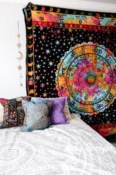 ☽✮☾Rainbow Zodiac Calendar Tapestry Gold Moon & Stars Decor, Pillows, Mandala by Lady Scorpio | Shop Now LadyScorpio101.com | @LadyScorpio101 | Photography by Luna Blue @Luna8lue | Boho Bedroom Inspiration.