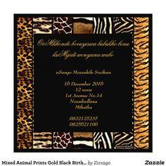 Shop Mixed Animal Prints Gold Black Birthday Party Invitation created by Zizzago.