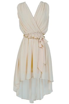 Ethereal Chain Belt High Low Chiffon Dress. This would be super cute with a brown leather jacket..