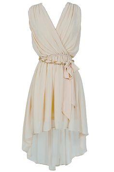 Ethereal Chain Belt High Low Chiffon Dress