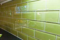 Green glass subway tile