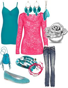 """""""color-hot pink/turquoise"""" by kimberlyk426 on Polyvore"""