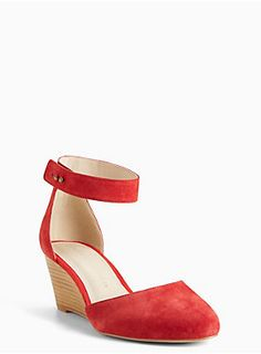 """<div>Sleek, chic, but most importantly, the cutest shoe you'll ever strut in. A reasonable d'orsay wedge gets a major upgrade with real red suede. The ever-so-slightly pointed toe and stud closure take the look to the edge.</div><div><ul><li style=""""LIST-STYLE-POSITION: outside !important; LIST-STYLE-TYPE: disc !important"""">TRUE WIDE WIDTH: Designed so you never have to size up again. For the perfect fit, we recommend going down a whole size.</li><li style=""""LIST-STYLE-POSITION: outside…"""
