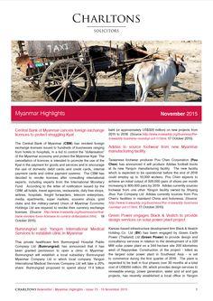 Myanmar Highlights - 10 November 2015 - Central Bank of Myanmar cancels foreign exchange licences to protect struggling Kyat