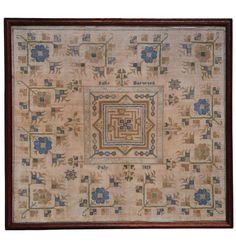 Early Massachusetts Needlework  Polly Harwood (Haywood) finished this large silk on linen sampler in July of 1819 and included incontrovertible evidence of her needlework skills when she isolated her central maze motif with an unexpected  band of hollie-work, complete with corner blocks, a complex needlework technique normally assigned to the 18th century. The only daughter of Elihu and Molly Harwood, Polly was born on April 12, 1804  in Oxford, MA. She had four children and died in 1891.
