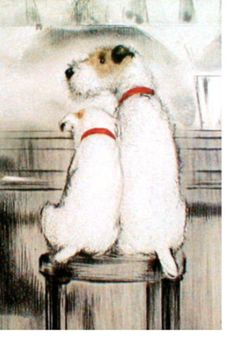 Fox terriers on a stool