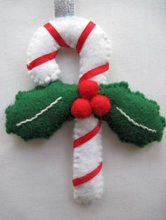 Felt Christmas Candy Cane with Holly hanging by AppledoorStudio, £7.99