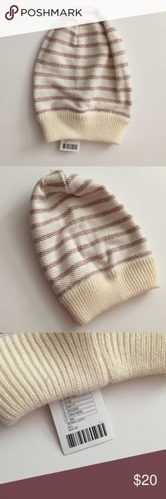 New urban outfitters striped beanie New with tags, super cute striped beanie red and cream, can be worn slouchy! Urban Outfitters Accessories