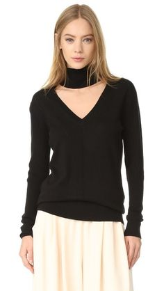 TOME Deep V Turtleneck Sweater. #tome #cloth #dress #top #shirt #sweater #skirt #beachwear #activewear