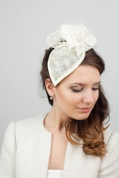 Bridal millinery hat with bow and veiling, Bridal hat with bow, millinery sinamay hat, bridal straw headpiece on Etsy, $95.00