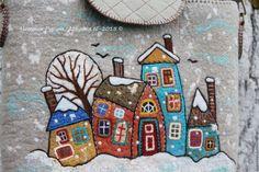 """Купить Сумка войлочная """"Другие города"""" - бежевый, рисунок, сумка ручной работы, сумка, сумочка"""