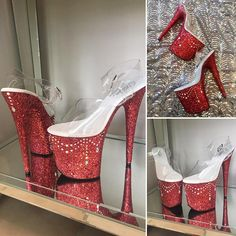 CHANDELIER:  Hand crafted glitter Pleaser heels in Scarlett, accented with swags of iridescent rhinestones. This style can be ordered in any US sizes 5-13 with 6-10 heels*. When you check out, just leave us a note with your size and heel height!  Looking for a fully custom design
