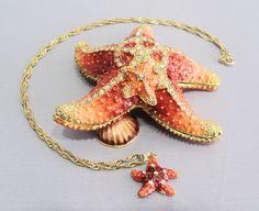 New Trinket Box Gift Crystals Orange Starfish Necklace