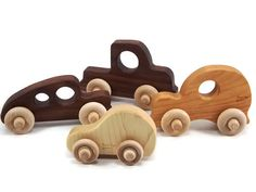 Organic Toy Car Set of 4, Natural Wooden Toys - Wood Baby Toys, Wood Childrens Montessori Toy Set on Etsy, $38.00