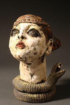The Snake Charmer, Penney Bidwell, figurative ceramic sculpture, http://penneybidwell.com