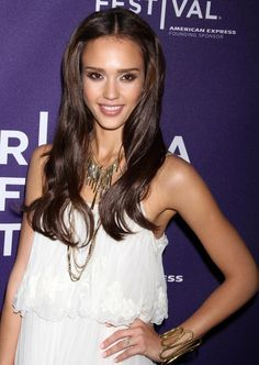 Jessica Alba Long Center Part - Jessica Alba Long Hairstyles Looks ...