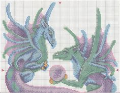 Mythical blue and purple dragons holding an orb full free cross stitch with DMC labeling - Page 1