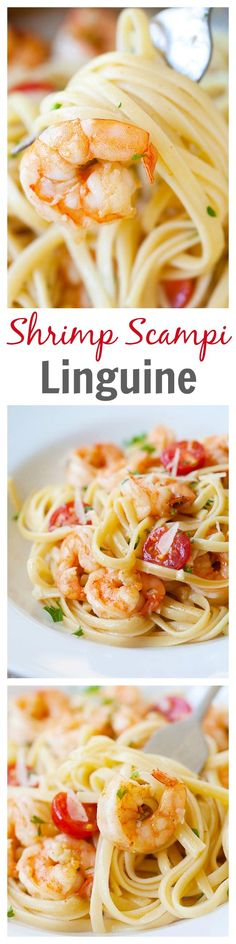 Garlicky and buttery shrimp scampi linguine. Quick, easy and super yummy recipe that you can make in one pot for the family   rasamalaysia.com   #pasta #shrimp