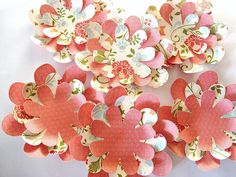 Red Rose paper flowers 3 D embellishments coral floral by Wcards, $3.00