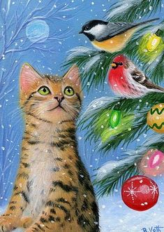 docrabbits - Cats in Art - Voth, Bridget Christmas Kitten with Birds Christmas Kitten, Christmas Animals, Christmas Scenes, Christmas Pictures, Les Moomins, Image Chat, Gatos Cats, Christmas Tree Painting, Whimsical Christmas