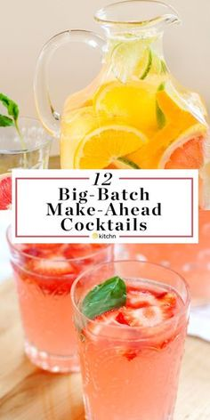 12 Big Batch Make Ahead Alcoholic Pitcher Cocktails. These boozy drinks or beverages are great if you need ideas for parties in the spring, summer, or fall. Options for vodka, rum, tequila, wine (sangria!), whiskey and more. Great for crowds.