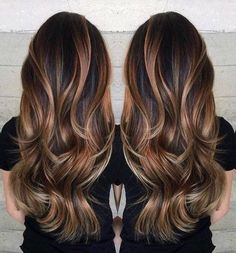 Gorgeous long brunette hair with rich blonde balayage hair color by Janai Hartt… Hair goals Hair Color Balayage, Balayage Brunette Long, Haircolor, Balayage Bronde, Dark Hair With Balayage, Brunette With Blonde Balayage, Balayage Asian Hair, Rich Brunette, Auburn Balayage