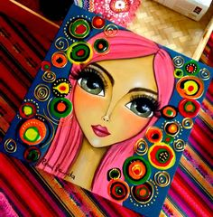 This pin was discovered by nancy mansour. Kunstjournal Inspiration, Art Journal Inspiration, Indian Art Paintings, Arte Pop, Whimsical Art, Beautiful Artwork, Face Art, Doodle Art, Mixed Media Art