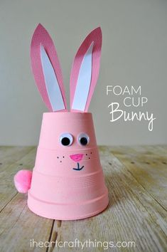 This super cute foam bunny craft is fun for kids to create and it makes an adorable spring and Easter decoration. Such a simple and fun spring and Easter craft for kids.: