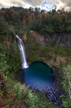 Malleco Falls, Chile.      I want to jump into the water from the top!!!!