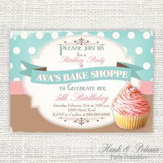 Printable Cupcake Birthday Party Invitation by HankandPetunia, $10.00