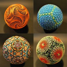 """"""" Temari (meaning handball), is a Japanese folk art form of embroidering balls for handball games or just plain decoration. Back in the day (around century AD), the spheres were made. Sculpture Textile, Textile Art, Temari Patterns, 3d Quilling, Colossal Art, Arte Popular, Deco Design, Patterns In Nature, Japanese Art"""