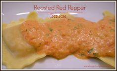 You can roast peppers yourself or use jarred, either way this sauce goes great over any pasta or ravioli.  Yummy roasted peppers, half & half, parm cheese, butter.  quick sauce with great results.