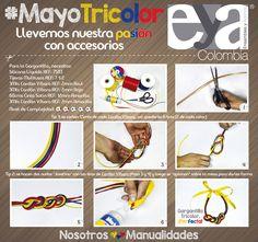 Un nuevo proyecto a la vista en nuestro mes #MayoTricolor; es un diseño sencillo y fácil, además de ser un look diferente y bonito cuando empiece la #CopaAmérica2015  #Bisutería #Confección #Decoración #Colombia #Manualidades #DIY #Crafts  Ensambles y Adornos Colombia EYA Colombia