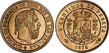 5 Centimos à l'effigie de Charles VII (Charles de Bourbon, prétendant carliste), 1875 - Carlos, Duke of Madrid - Wikipedia
