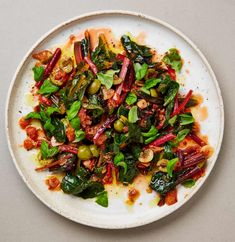 Yotam Ottolenghi's recipes for summery green side dishes | Food | The Guardian Chard Recipes, Vegetable Recipes, Vegetarian Recipes, Healthy Recipes, Healthy Food, Ottolenghi Recipes, Yotam Ottolenghi, Olives, Braised Greens