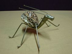 """Eclectic Hand Crafted Folk Art 8.5"""" Creature Insect Made From Seashell & Metal 