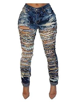 9045cf71536 Cotton Denim Highly Stretchable and Soft Denim Fabric Mid-rise Style Design  White Ripped Skinny Jeans