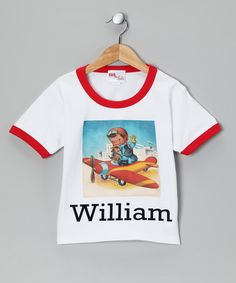 Take a look at this Red & White Vintage Airplane Personalized Tee - Toddler & Kids by Gus & Lola on #zulily today!