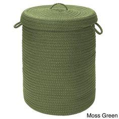 Braided Dark Green Lidded Storage Laundry Blankets Toys Hamper Free Shipping #ColonialMills