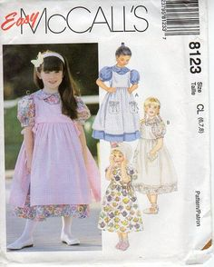 ee33ea63 1990s Girls Dress and Pinafore Pattern - Vintage McCall's 8123 - Size 6 7 8  UNCUT FF