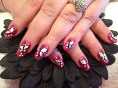 Pink Gel polish with foil butterfly nail art