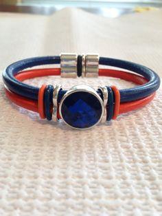 Team/School Spirit Round Leather Bracelet - Orange & Blue - Blue Crystal Focal Point - Denver Broncos, Florida Gators, Auburn Tigers, UTSA