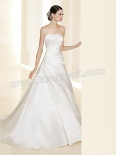 A-Line Shirring And Pick-Up Wedding Dress