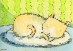 Kitten nap, painting by artist Nicole Wong