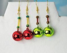 Under 10 USD gifts; Christmas earrings; holiday earrings; red green earrings; Christmas ornament earrings; novelty holiday earrings; CIJ by Rocks2Gems2Wire on Etsy