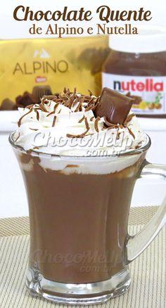Receita Alpine e Nutella de Chocolate Quente. Super fácil de fazer e muito legal . Hot Chocolate Coffee, Hot Chocolate Bars, Chocolate Desserts, Milk Shakes, Yummy Drinks, Yummy Food, Tasty, Chocolates, Smoothies