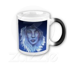 Mysterious Woman Mug - When it's cold, it's just a simple black mug. When you add any hot beverage (water, tea, coffee, etc.), your mug turns white and the image comes to life in vibrant colors.