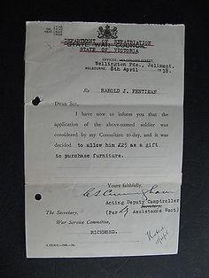 WW1 ANZAC SERVICEMAN  Harold J Pentiman of Richmond