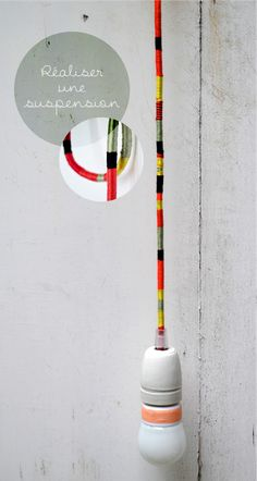 DIY pendant colorful cord lamp - this could be useful when the cord gets dingy and you can no longer get it clean